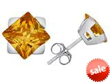 Original Star K™ 7mm Square Star Earrings with Simulated Imperial Yellow Topaz style: 309878