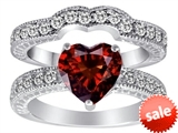 Original Star K™ 8mm Heart Shape Genuine Garnet Wedding Set style: 309879