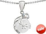 Original Star K™ Frog Pendant With 10mm Simulated Pearl Ball style: 309887