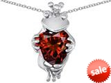 Original Star K™ Heart Shape Simulated Garnet Lucky Frog Prince Pendant style: 310156