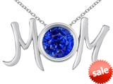 "Original Star K™ Round Simulated Sapphire MOM Mother""s Pendant style: 310181"