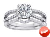 Original Star K™ Heart Shape 7mm Genuine White Topaz Engagement Wedding Set style: 310288