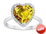 Original Star K™ Heart Shape Simulated Citrine Halo Engagement Ring style: 310309