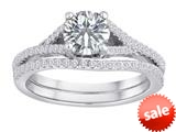 Original Star K™ Round White Topaz Engagement Wedding Set style: 310453