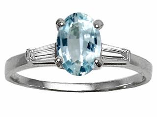 Tommaso Design(tm) Genuine Aquamarine and Diamond Engagement Ring
