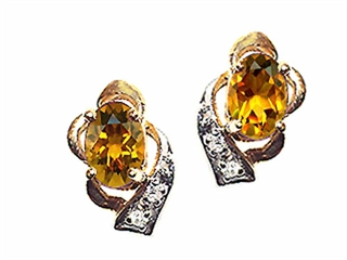 Tommaso Design(tm) Oval 6x4 mm Genuine Citrine and Diamond Earrings