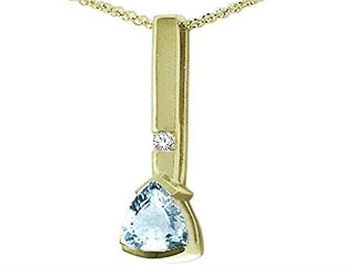 Tommaso Design(tm) Trillion 7mm Genuine Aquamarine and Diamond Pendant