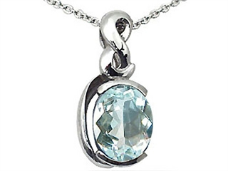 Tommaso Design(tm) Oval 9x7mm Genuine Aquamarine Pendant
