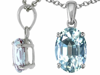 Tommaso Design(tm) Oval 8x6mm Genuine Aquamarine Pendant