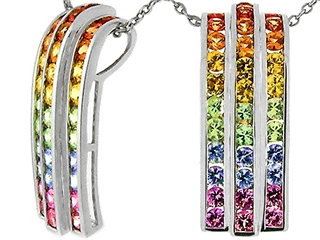 Tommaso Design(tm) 1.2 inch long Rainbow Sapphire Pendant with 34 Genuine Multi Color Sapphires
