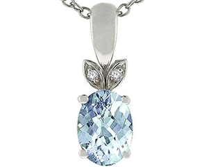 Tommaso Design(tm) Genuine Round Brilliant Aquamarine Pendant