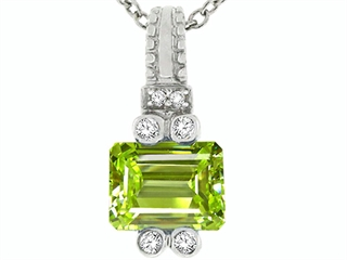 14k Gold Genuine Emerald Cut Peridot Pendant peridot pendant