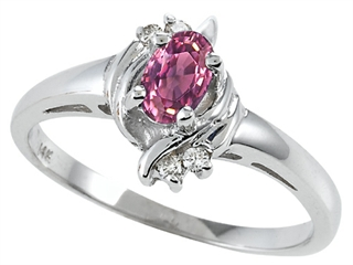 Tommaso Design(tm) Oval 5x3 mm Genuine Pink Tourmaline and Diamond Ring