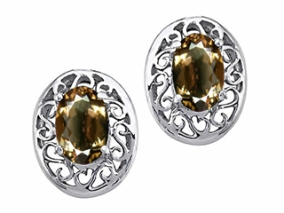 Tommaso Design(tm) Oval 6x4mm Genuine Smoky Quartz Earrings