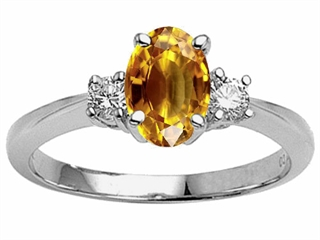 Genuine 9x7 Oval Citrine Engagement Ring