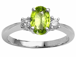 Genuine 9x7 Oval Peridot Engagement Ring Peridot Engagement Rings