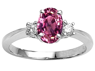 14k Gold Genuine 9x7 Oval Pink Tourmaline Engagement Ring