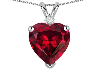 EZ Tommaso Design(tm) 8mm Heart Shape Created Ruby and Genuine Diamond Heart Pendant