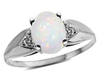 Tommaso Design(tm) Genuine 9x7 Oval Opal and Diamond Ring
