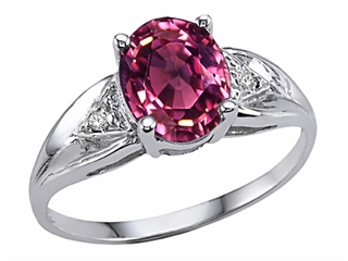 Tommaso Design(tm) Oval 8x6 mm Genuine Pink Tourmaline and Diamond Ring