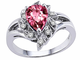Tommaso Design(tm) Pear Shape 8x6 mm Genuine Pink Tourmaline and Diamond Ring