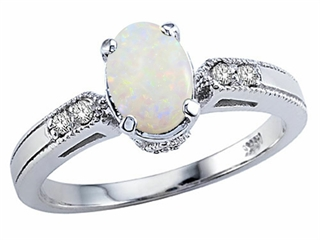 Tommaso Design(tm) Genuine Opal and Diamond Ring