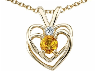 Genuine Citrine and Diamond Heart Pendant