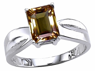 Tommaso Design(tm) Emerald Cut 8x6 mm Genuine Smoky Quartz Ring