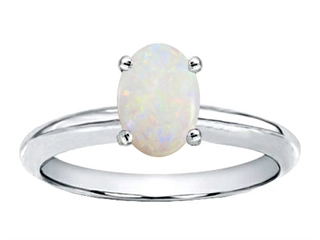 Tommaso Design(tm) Oval 7x5mm Genuine Opal Solitaire Engagement Ring