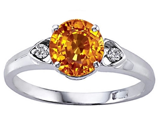 Genuine Round Citrine and Diamond Engagement Ring