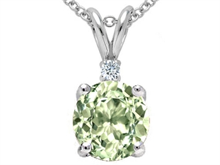 Genuine Green Amethyst and Diamond Pendant