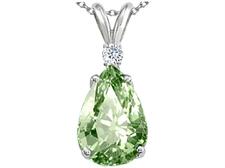 Tommaso Design(tm) Genuine Green Amethyst and Diamond Pendant