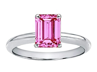 Created Pink Sapphire Emerald Cut Engagement Ring