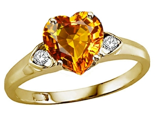 Genuine Heart Shape Citrine and Diamond Ring