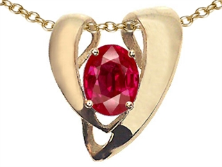 EZ Tommaso Design(tm) Created Ruby Oval 9x7mm Heart Shape Pendant Enhancer with large opening for Omega Chain