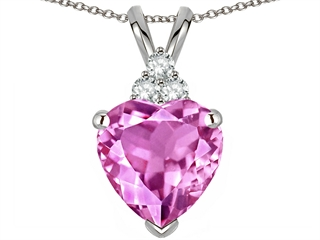 Tommaso Design(tm) Heart Shape 8mm Created Pink Sapphire and Genuine Diamond Heart Pendant