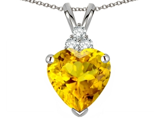 Genuine 8mm Heart Shaped Citrine Pendant
