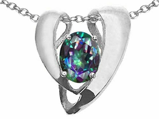 Tommaso Design(tm) Rainbow Mystic Topaz Heart Shape Pendant Enhancer with large opening for Omega Chain