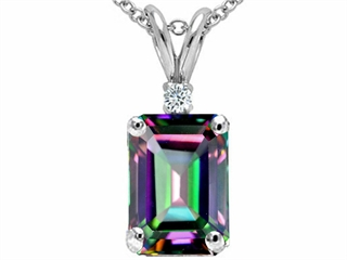 Tommaso Design(tm) Emerald Cut Rainbow Mystic Topaz and Genuine Diamond Pendant