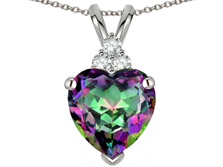 Tommaso Design(tm) 8mm Heart Shape Rainbow Mystic Topaz and Genuine Diamond Heart Pendant