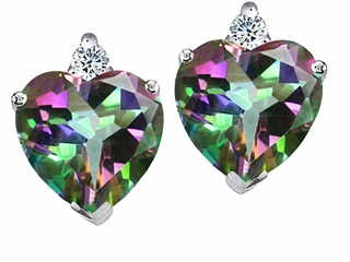 Tommaso Design(tm) Heart Shape 6mm Rainbow Mystic Topaz and Genuine Diamond Earring Studs