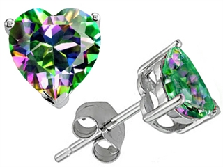 Tommaso Design(tm) Heart Shape 7mm Mystic Rainbow Topaz Earring Studs