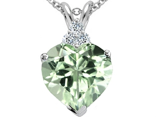 Tommaso Design(tm) 8mm Heart Shape Genuine Green Amethyst Pendant