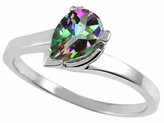 Tommaso Design(tm) Pear Shape 7x5mm Mystic Rainbow Topaz Ring