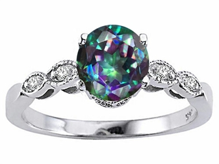 Tommaso Design(tm) Round 7mm Mystic Rainbow Topaz Solitaire Engagement Ring