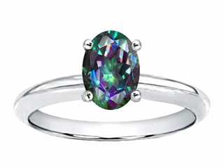 Tommaso Design(tm) Oval 8x6mm Mystic Rainbow Topaz Solitaire Engagement Ring