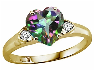 Tommaso Design(tm) Heart Shape 8mm Mystic Rainbow Topaz and Diamond Ring