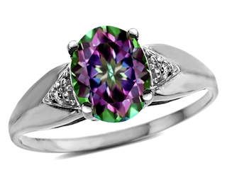 Tommaso Design(tm) Oval 9x7mm Mystic Rainbow Topaz and Diamond Ring