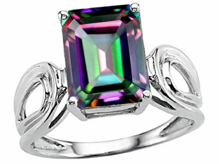 Tommaso Design(tm) Emerald Cut 10x8 mm Mystic Rainbow Topaz Ring
