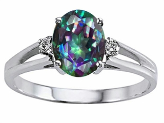 Tommaso Design(tm) Oval 8x6mm Mystic Rainbow Topaz and Diamond Ring